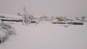 Sne bag Halfdans hus søndag morgen