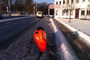 Sne på cykelsti 6-12-2012