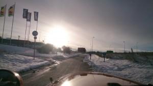 Sne og omkørsel ved Aarhus